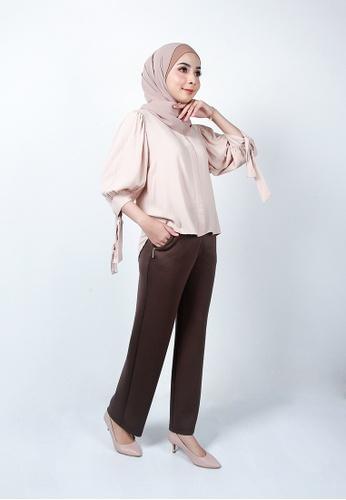 Ladies Jeans brown Zipper Pocket Long Pant D3B5FAA1E00411GS_1