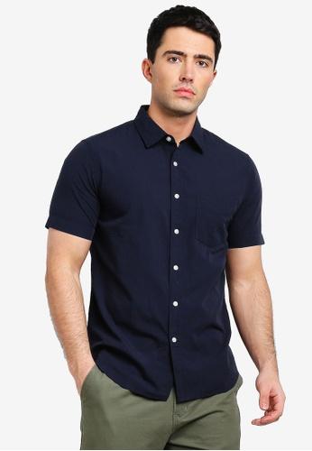 Banana Republic 藍色 短袖修身襯衫 56052AA94ED85FGS_1