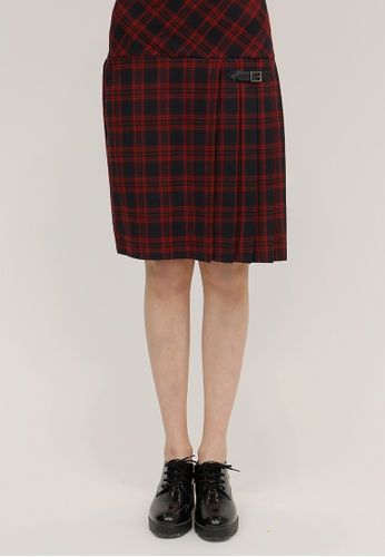 OUTSTANDING ORDINARY red and navy Oasis Check Midi Pleats Skirt OU203AA38DBXSG_1