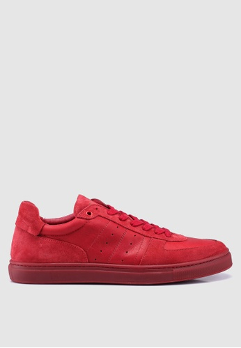 Selected Homme red Duran Retro Suede Leather Trainers DE5E3SH4D61387GS_1