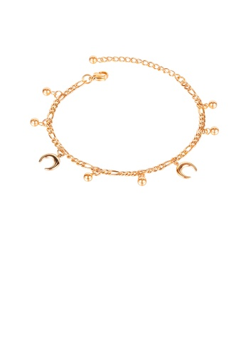 Glamorousky silver Fashion Simple Plated Rose Gold Moon Ball 316L Stainless Steel Anklet 6E0DDAC8BA4929GS_1