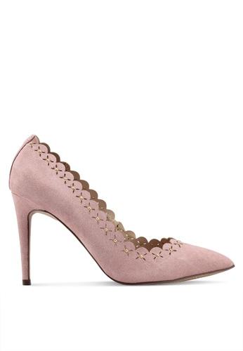 Dorothy Perkins 粉紅色 波紋滾邊雕花高跟鞋 EC1D4SH84E810CGS_1