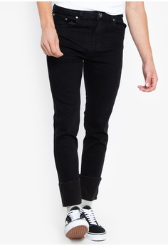 66b27dc6fb654c Folded   Hung black Denim Skinny Jeans with Hem Fold 98773AA5A39C08GS 1 30%  OFF ...