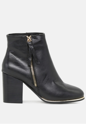 Rag & CO. black Mid Heel Ankle Boots with Zip Closure RCSH1770 B499CSHEBFC0DAGS_1