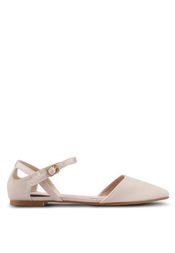 Velvet gold Ankle Strap Flats 50295SH9E5F8F0GS_1