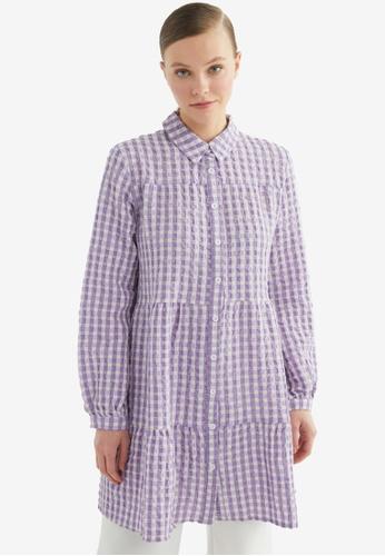 Trendyol 紫色 Plaid Tunic 襯衫 A9A74AAB7E33F4GS_1