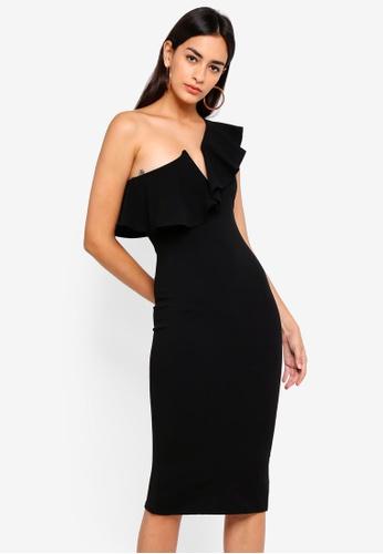 MISSGUIDED 黑色 One Shoulder Frill Midi Dress 3832DAA0411999GS_1