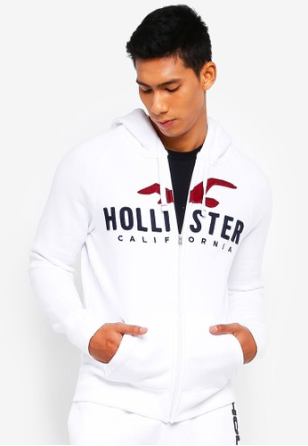 Hollister white Iconic Logo Zip Hoody AF756AAAF1E51AGS_1