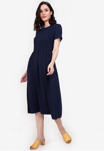 ZALORA BASICS navy Oversized Pocket Dress 7E377AA9DC15B8GS_1