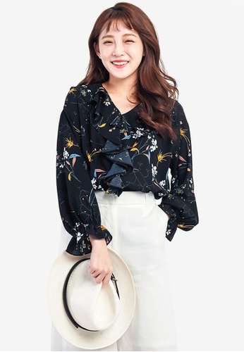 Tokichoi navy Floral Printed Blouse with Ruffles DDE6CAA523F203GS_1