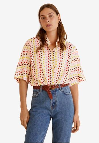 Mango white and multi Oversize Check Shirt CA54DAA61B0E75GS_1
