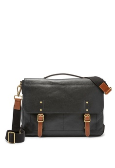 a8d37b00c0 Fossil black Fossil Defender Black Leather Messenger MBG9345001  FO164AC0SYPYMY_1