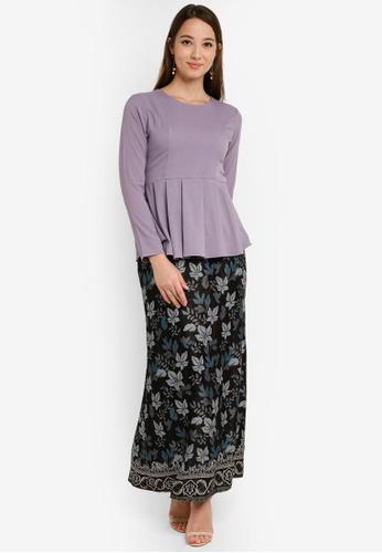 Asymmetric Layered Kurung from Aqeela Muslimah Wear in Grey