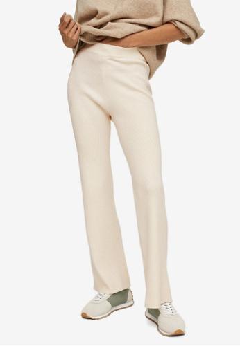 Mango yellow Ribbed Trousers With Elastic Waist 9DF9DAAEB457E8GS_1
