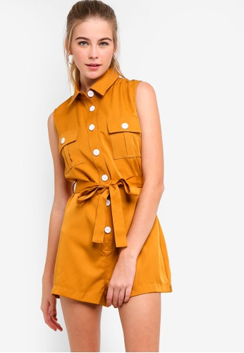 28c605b16bf8 Something Borrowed yellow Utility Playsuit With Self Tie F66A2AA0DA77CAGS 1