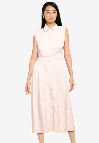 ZALORA BASICS white Button Down Chambray Dress 4D24DAA26F7108GS_1