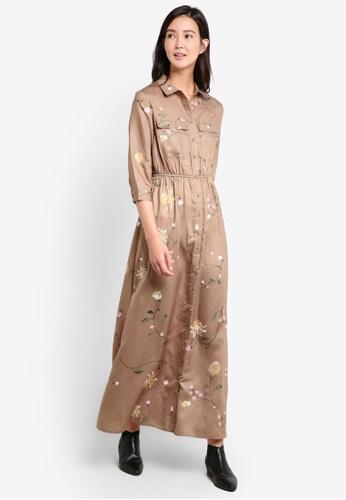 ZALORA multi and brown Floral Army Printed Maxi Dress 1E5DBAAB7120EDGS_1