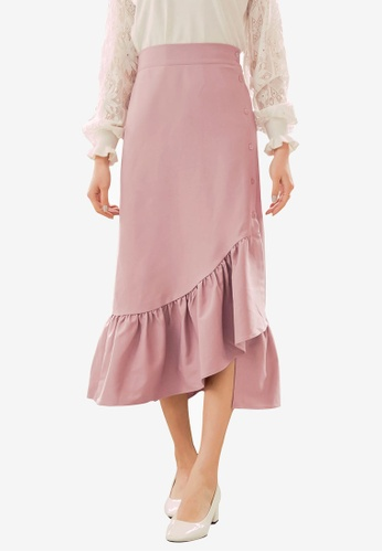 YOCO pink Asymmetrical Ruffle Skirt E0381AA6235B0AGS_1