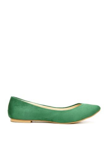 KissXXX 綠色 時尚心機V型淺口舒適平底休閒鞋 KI603SH09MS6TW_1