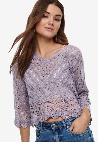 JACQUELINE DE YONG grey and purple Sun 3/4 Cropped Pullover 5BA47AAFDA8B5BGS_1