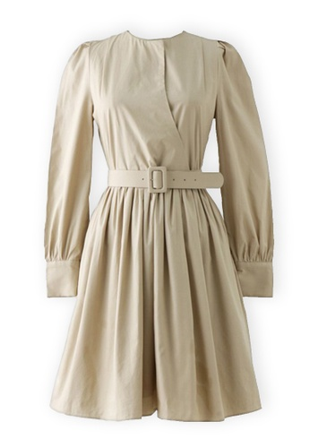 Sunnydaysweety beige Beige Tunic Round One Piece Dress K20042505 991F8AA5917B78GS_1