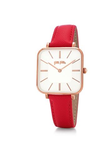 Folli Follie Timeless Bonds Medium Square Case Leather Watch(WF18R007SPW-RED) 52C65AC405B671GS_1