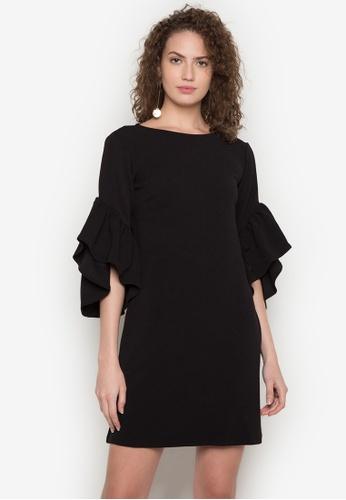 Dorothy Perkins black Ruffle Sleeve Shift Dress DO101AA0JWNZPH_1