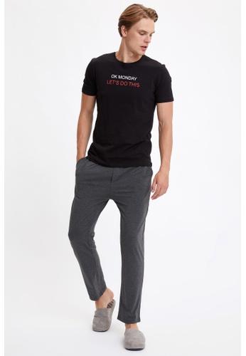 DeFacto black Slim Fit Top & Bottom Pyjamas Set 31EEEAAEDFCD22GS_1