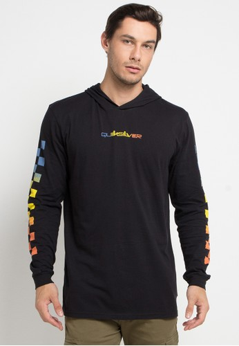Quiksilver black and multi Originals Check Long Sleeve Hoodie T-Shirt 5DF0EAA8AA8E71GS_1