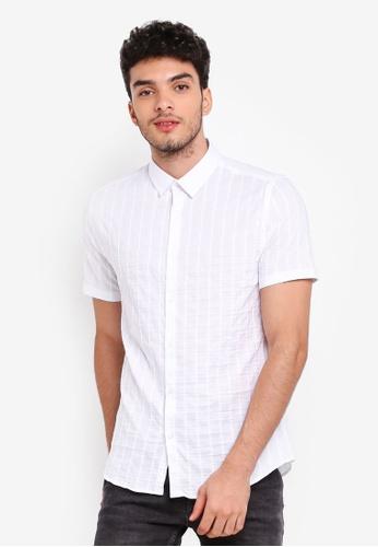Burton Menswear London white White Short Sleeve Textured Stretch Shirt 9732AAA049C4E3GS_1