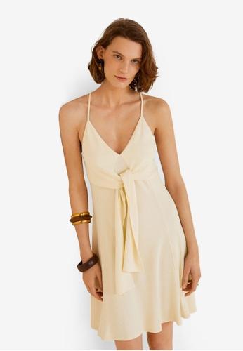 Mango beige Bow Knitted Dress F9780AAC36949FGS_1