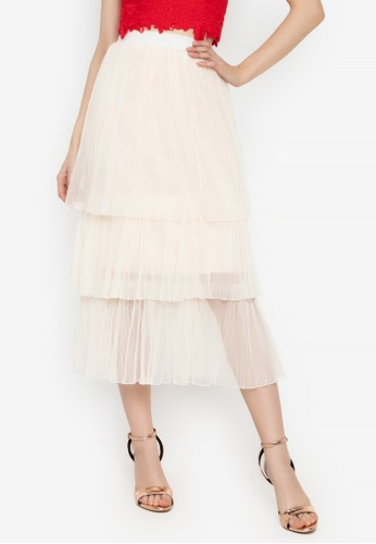 6164924be Y.R.Y.S. Your Rules Your Style beige Statement Tulle Skirt 3 Layer Pleats  A74E2AA2ADD723GS_1