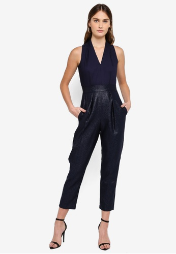 CLOSET 海軍藍色 拼接褶飾連身褲 E9506AAEAE3D6EGS_1