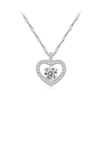 Glamorousky white 925 Sterling Silver Elegant Sweet Heart Pendant with Cubic Zirconia and Necklace E09EBAC5C43405GS_1