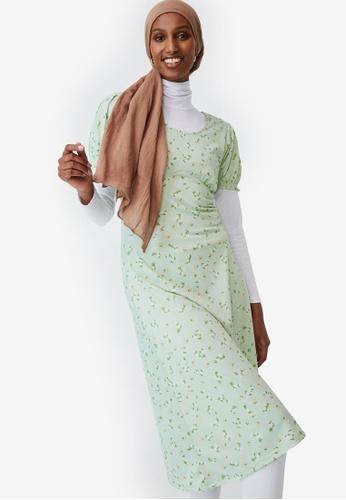 Cotton On green Elina Short Sleeve Midi Dress 9952DAA2AA8C88GS_1