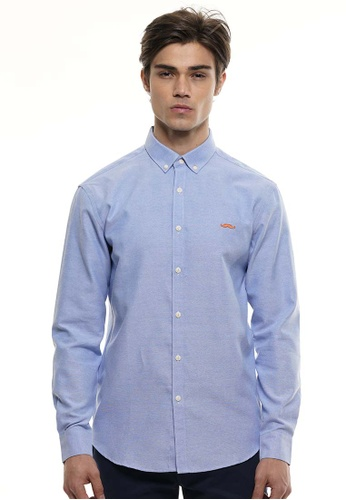 Private Stitch blue Private Stitch Men Casual Long Sleeve Slim Fit Cotton Plain Shirt A3F3CAA6C4CC07GS_1