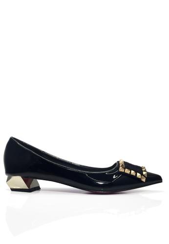 Twenty Eight Shoes 黑色 鉚釘及馬毛矮跟鞋 VL17064 1ABA3SH015D7FBGS_1