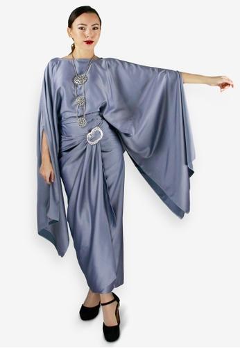PANGOI grey PANGOI Premium Kaftan Pario Valentino Silk Grey - Long Batwing C4CE9AA65546E0GS_1