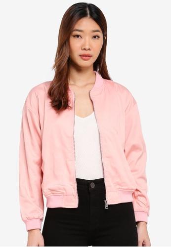 MKY Clothing pink Plain Drill Bomber Jacket 8A700AA32B2065GS_1