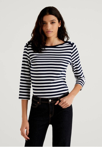 United Colors of Benetton navy Striped 3/4 Sleeve T-shirt AE4F2AAC477DC3GS_1