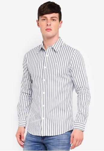 Calvin Klein 白色 Institutional Stripe Slim Shirt - Calvin Klein Jeans 848E3AA000476EGS_1