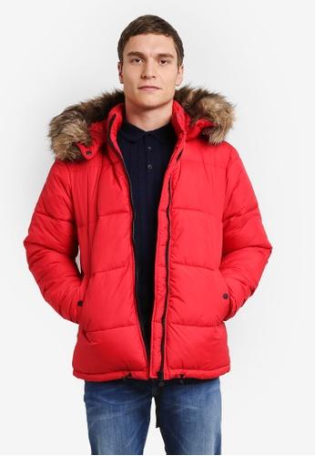 River Island red Faux Fur Trim Hooded Puffer Coat RI009AA0SF6KMY_1