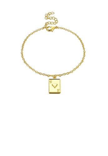 Glamorousky silver Fashion Simple Plated Gold Poker Number 10 Bracelet BA9C1AC1607545GS_1