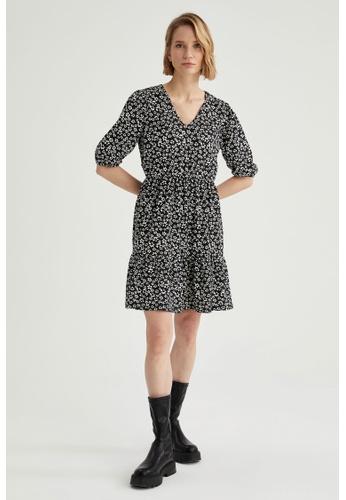 DeFacto black Short Sleeve Mini Dress 2633EAAF6B8EAAGS_1