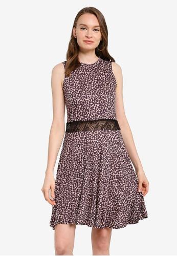 UniqTee brown Leopard Print Open Waist Dress with Net Lace DFDEDAA36206A3GS_1