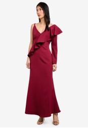 Preen & Proper red Asymetrical Maxi Mermaid Dress PR614AA0S9V4MY_1
