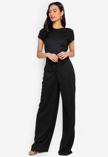 MISSGUIDED black Rib Short Sleeve Wide Leg Jumpsuit 4DC61AA7D4F3B0GS_1