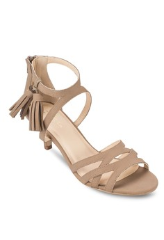 Kitten Heel Sandals With Tassels