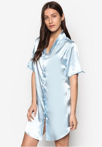 綢esprit地址緞襯衫式睡裙, 服飾, 睡衣