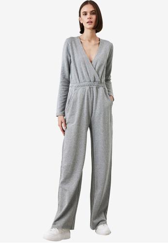Trendyol grey Waist Detail Plunge V-Neck Wrap Jumpsuit 9030FAA0C5412CGS_1